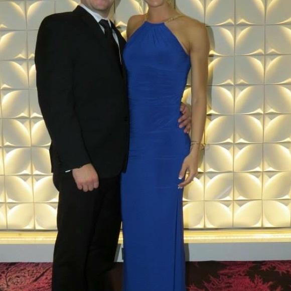 Cache Dresses & Skirts - Royal Blue Caché Cocktail Dress with Metal Braids